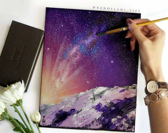 Landscape Painting - Oil Painting - Original Painting - paintings on Canvas - Stars - Milky Way - Space Art - Snow Mountain - Pink