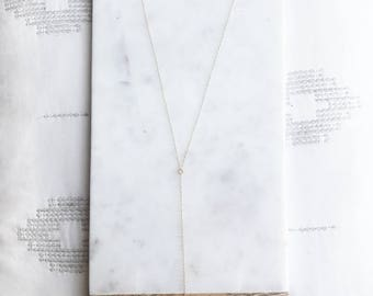 Crystal Quartz Lariat Drop Necklace with 14k gold fill chain