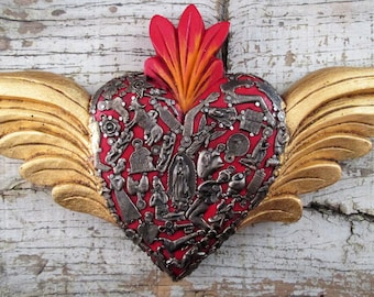 Sacred Heart with Wings, Winged Heart, Milagros Heart, Mexican Folk Art, Red Heart