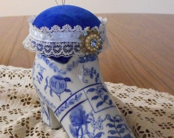 Vintage Blue and White Shoe Pincushion - Porcelain