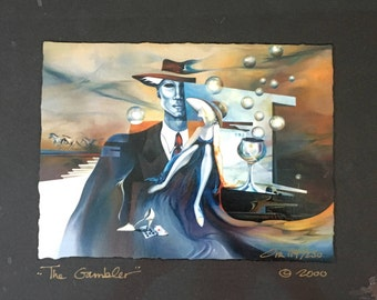 Original art, The Gambler, Playing Cards Charm, Casino charm, gift, gambling gift, gift for a gambler, collectable art