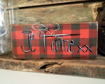 """Hunting lodge"" collection - I love you - gift hostess - Rustic Anick poster - recycled wood"