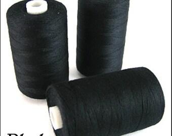 Box of 12! Black 1000 Yard Polyester Thread Spools! 120 Gauge!