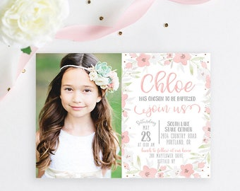 LDS Baptism Invitation, Modern Girl Baptism Invitation, Watercolor Floral