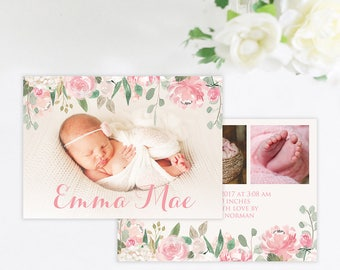Simple Floral Baby Girl Photo Birth Announcement, Birth Announcement Floral, Baby Girl Announcement Card