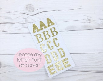 Customizable Glitter Letter Stickers, Glitter Initial Stickers, Glitter Letter Envelope Seal, DIY Banner Stickers, Glitter Alphabet Stickers