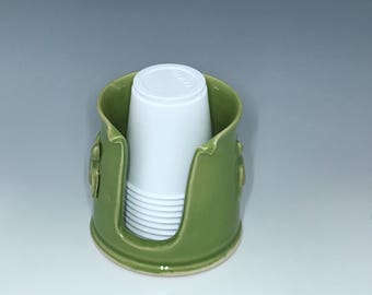 Tropical Green Bathroom Cup Holder Embellished With a Turtle - Pottery Cup Holder - Ceramic Bathroom Cup Dispenser