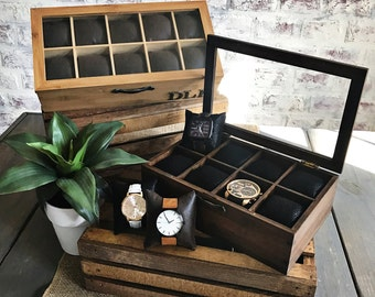 Watch Box - LEATHER FAUX - Watch Organizer- Men's Valet - Gifts for Men - Gifts for Women- Groomsmen Gift - Compartment Watch Box