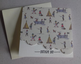 5 x 5 inch square Belle and Boo Print Birthday Card for a Boy with Ivory Envelope, Blank Inside