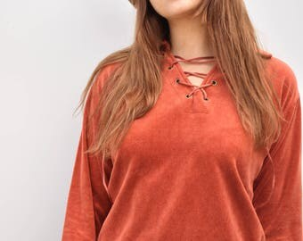 Vintage seventies orange velour long sleeve top