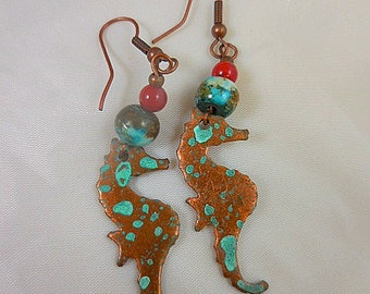 Copper Verdigris Seahorse Beaded Dangle Earrings