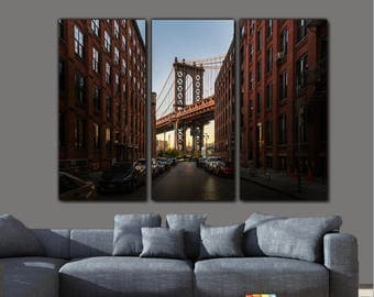 Manhattan Bridge Canvas Wall Art,  New York Art, Brooklyn Dumbo District View, Empire State Building art, Brooklyn art, Large New York Print
