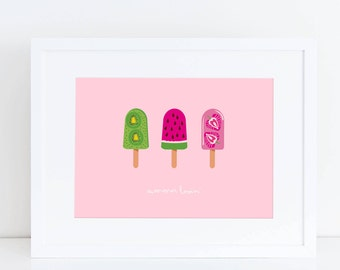 Ice Lolly Print, Kitchen Print, Art for kitchen, new home print, friend print, Gift for friend, Ice Cream Print, welcome gift, Summer Print