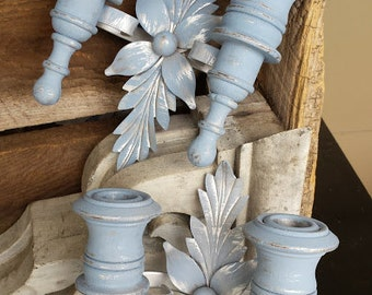 Shabby, Cottage, Frosty Blue Double Candle Holder Sconces