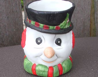 1980 Sweet Keepers Bisque Porcelain Snowman Candy Holder