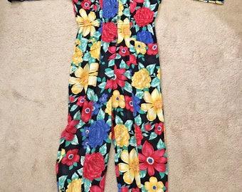 DVF Vintage Diane Von Furstenberg 100% Rayon Floral Flowers Jumpsuit SZ Med