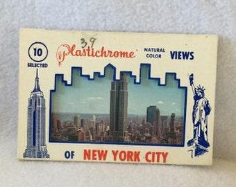 Vintage NYC plastichrome postcards, souvenir NYC photo postcards, vintage NYC photos, vintage postcards, set of 10 New York postcards