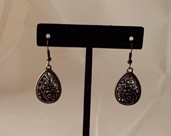 Bronze Rose Tear Drop & Crystal Earring s- Bronze Rose Earrings - Rose Earrings - Crystal Earrings - Bronze Earrings - Flower Earrings -Rose