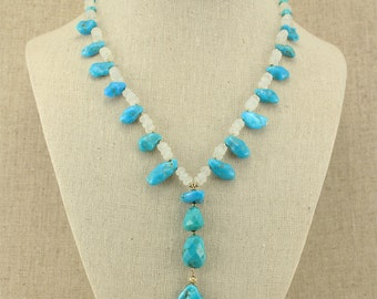 BN292- December birthstone: Sleeping Beauty Turquoise nugget and Rainbow Moonstone necklace