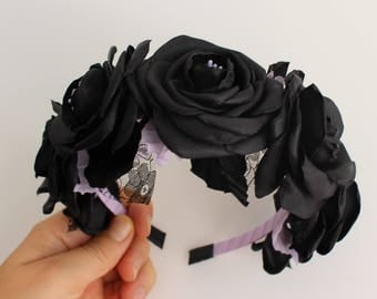 Black Rose Headband,flower rose girl headband,Toddler Girl Adults Women Headband,Black flower Headband,Flower Crown Gothic Festival