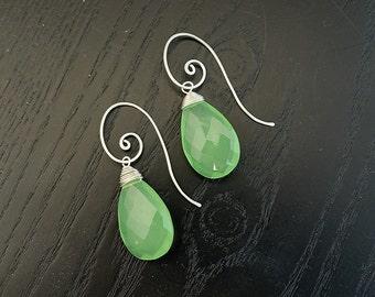 Large Chalcedony Earrings, Green Chalcedony Earrings, Dangle Earrings, Sterling Silver spiral Swirl,  Green Gemstone Earrings