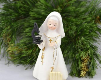 Vintage Napco Nun Figurine, Science Nun Figure From 1962