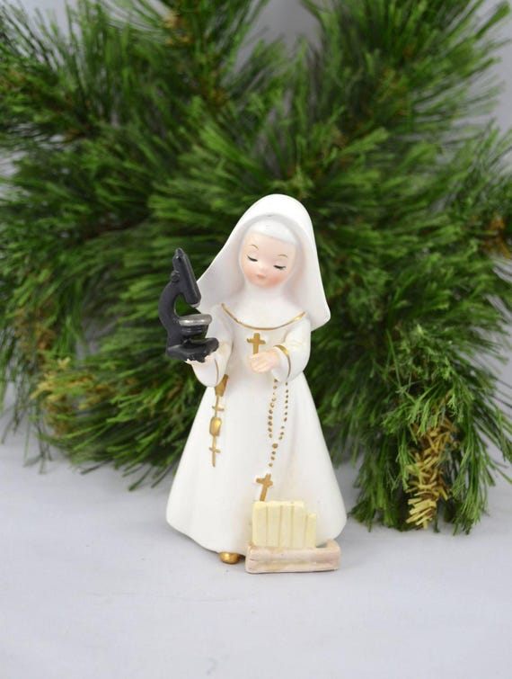 Vintage Napco Nun Figurine, Science Nun Figure From 1962