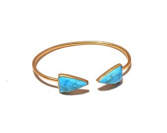 Turquoise Triangle Shape 14x20 MM Adjustable Bracelet, Silver Bracelet, Gemstone Bracelet, Cuff Bracelet, Designer Bracelet, Indian Jewelry