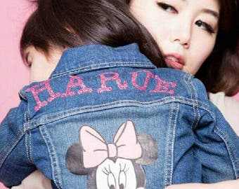 Minnie Jean Jacket-Baby Girl Jean Jacket-Minnie Mouse Birthday-Custom Made Jean Jacket-I love Minnie-Baby Birthday Gift-Mouse-Cartoon-Custom