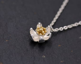 Sterling Silver Dainty Little Flower Blossom Necklace with Partial Gold Plating  - 16'' - 18''  Y60