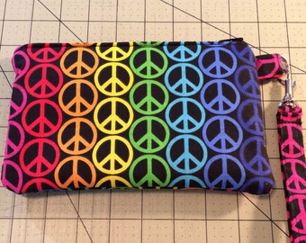 Peace Symbol Wristlet, Zipper Pouch, Cosmetic Bag, OOAK Ready to ship