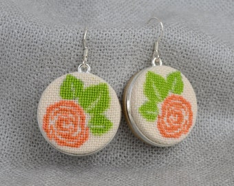 Orange green flower earrings, Dangle earrings, Cross stitch jewelry, Embroidered earrings, Hand embroidered gift, Floral jewelry