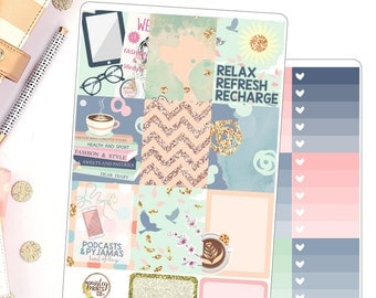 Refresh Weekly Kit Planner Stickers for use in Erin Condren Vertical