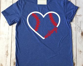 baseball heart tee, baseball shirt, baseball heart shirt, heart baseball, baseball lover, custom baseball shirt