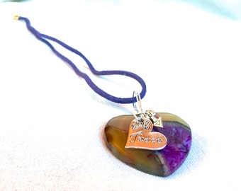 Bohemian Heart Necklace, agate stone heart carved heart golden purple heart pendant necklace peace charm arrow charm Valentines Day gift mom