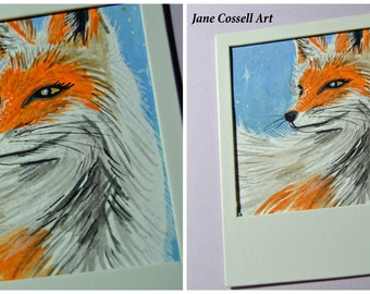 ORIGINAL - gouache painting - fox