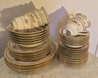 "Vintage Noritake Ivory China ""Homage"" 42 Pieces Dinnerware Set Full Service For 6. Made In Japan. Discontinued Actual 1977-1985."
