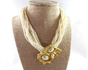 Large gold Pearl Statement Choker Necklace, Vintage Chunky Choker Pearl Necklace