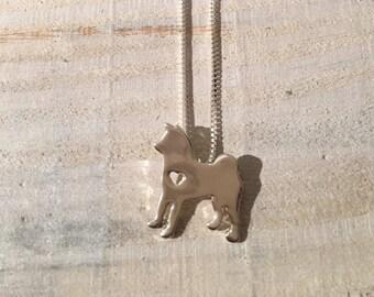Silver Husky Dog Necklace, Jewlery