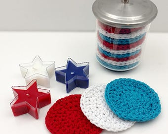 Crochet Face Scrubbies, Reusable Cotton Round, Face Scrub, Make up Remover Set of 3    [093]
