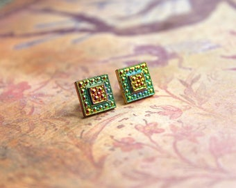 One Pair of Vitrail Rainbow Gold Plated Square Studs // Vintage Vitrail // Hand Made Earrings // Rainbow Earrings // Choose Your Color