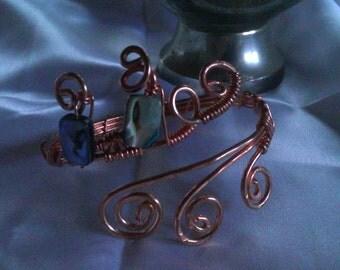 labradorite cooper wire bracelet , handmade cooper bracelet , handmade jewelry , christmas present