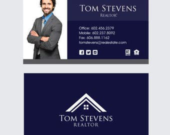 Custom Realtor Business Card Design.  Real Estate.  Picture is sample only.  Your design will be custom.  Graphic Design.  Clean.