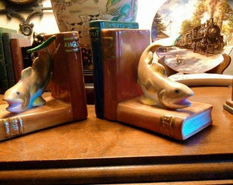 Vintage Fitz and Floyd Omnibus Philippines Ceramic Bass/Trout/Fish/Bookends, RARE, Nautical Bookends, Bookends