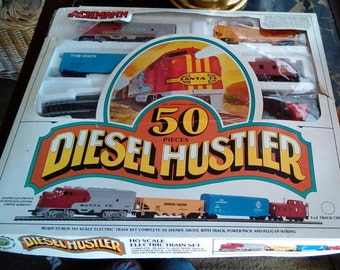 Vintage Bachmann HO Scale Diesel Hustler Train Set, 50 Piece Train Set, NIB