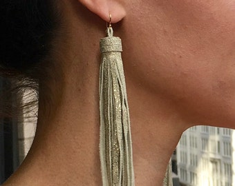 Genuine Leather Tassel Earrings, Gold Tassel Earrings, Leather Earrings, Large Leather Tassel, Gold Statement Earrings, Oversized Tassel