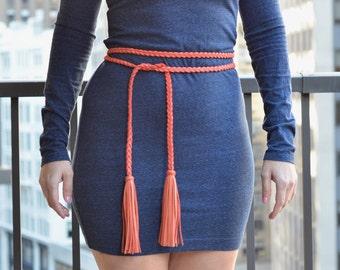 Genuine Leather Tassel Wrap Belt, Leather Tassel Belt, Wrap Belt, Leather Harness Belt, Red Leather Belt, Tassel Wrap Belt,Braided Wrap Belt