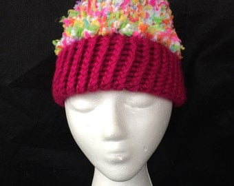 Hand made loom knitted cupcake hat sized for a girl