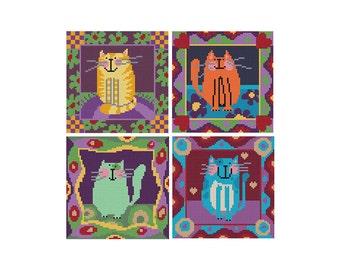 Small Cats - Set of 4 - Durene J Cross Stitch Patterns
