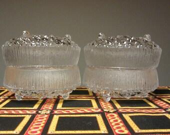 TAPIO WIRKKALA - Littala Glass, Ultima Thule line - Set of two Individual Bowls - Made in Finland - 1960s